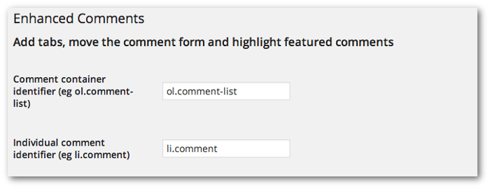 Screengrab of the comment list and comment identifier options in the Enhanced Comments settings page