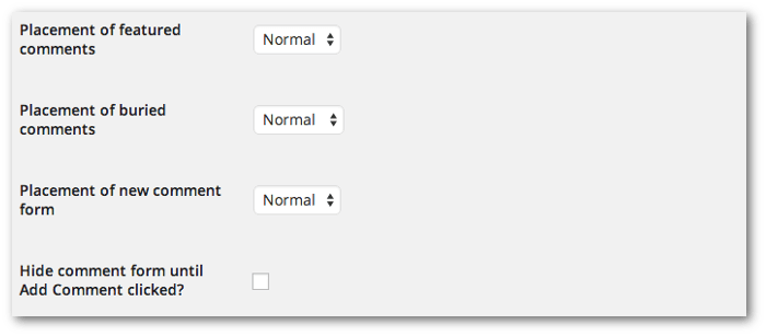 Screengrab of the featured, buried and comment form placement options