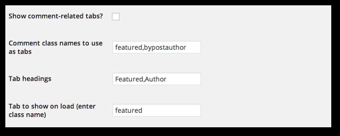 Screengrab of the tab options