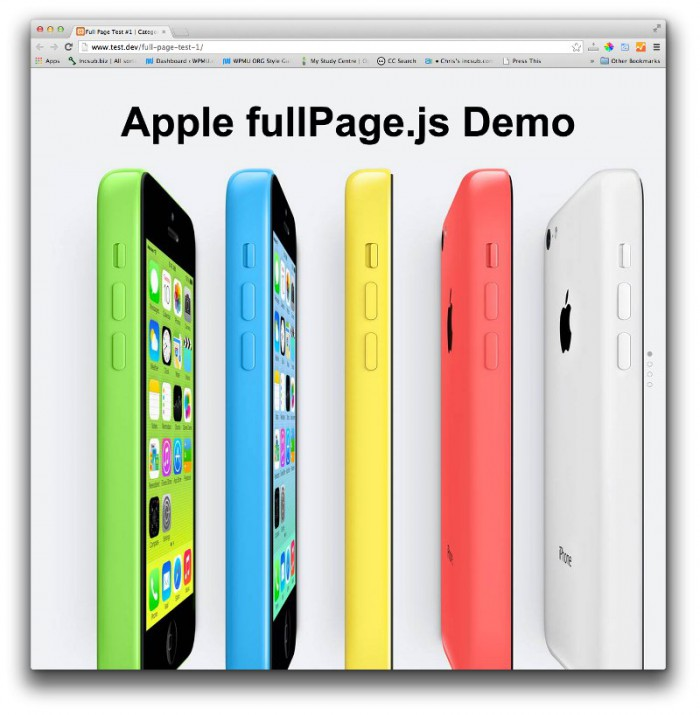 The Apple iPhone 5C line-up with the title Apple fullPage.js Demo
