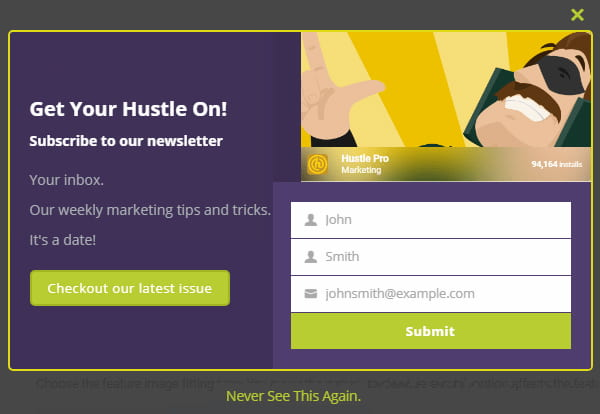 Hustle opt-in form