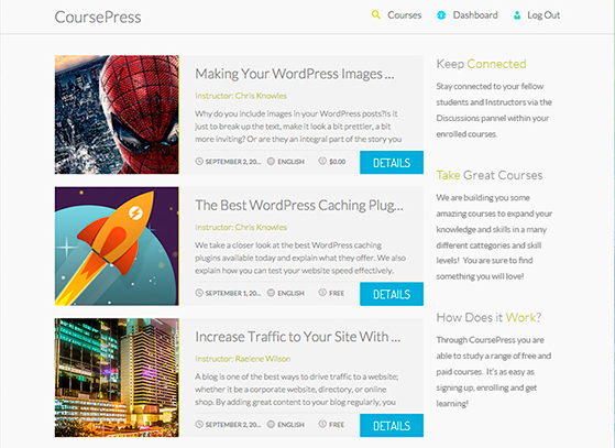 The bundled theme gives you great looking courses