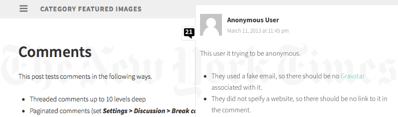 Screengrab of the slideout comments