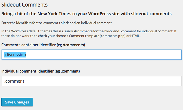 Screengrab of the slideout comments plugin options