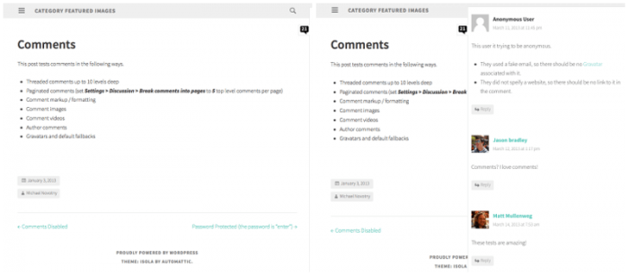 Two screenshots of a post using the Isola theme with the sidebar open and closed