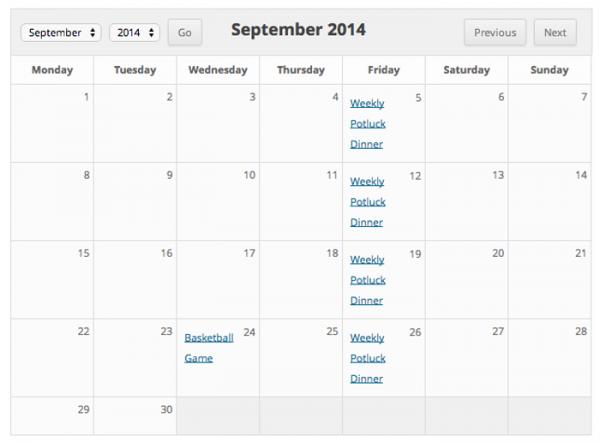 Sugar Events Calendar