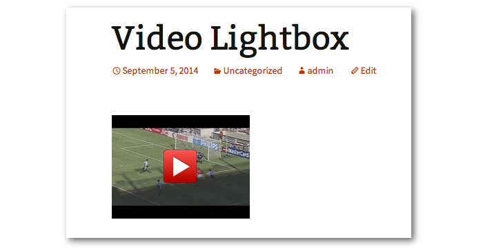 Post output with a video thumbnail as the link to the video lightbox