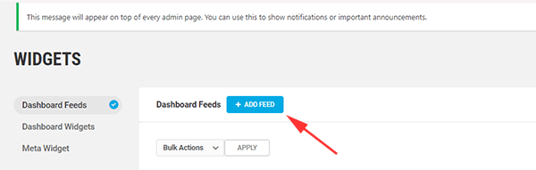 Screenshot of the section of the widget menu where you can add a new feed.