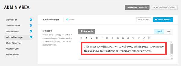 Screenshot of the admin message screen.