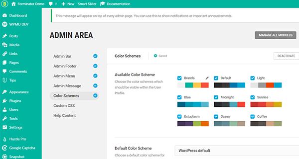 Screenshot of the admin area using the Branda color scheme.