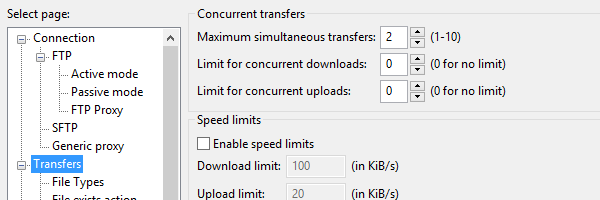 In FileZilla, access the Transfers page to change the number of simultaneous connections