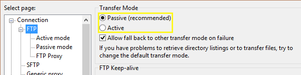 FileZilla's settings screen under Connection > FTP: Passive and Active Mode