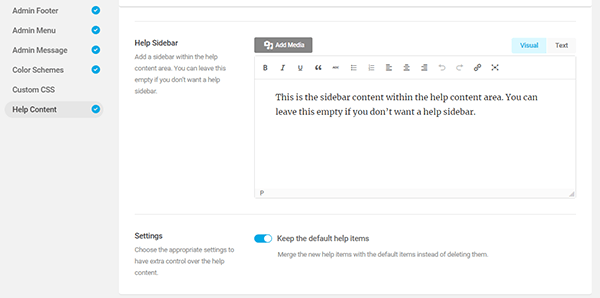 Screenshot showing the help sidebar which you can add to the help content area.