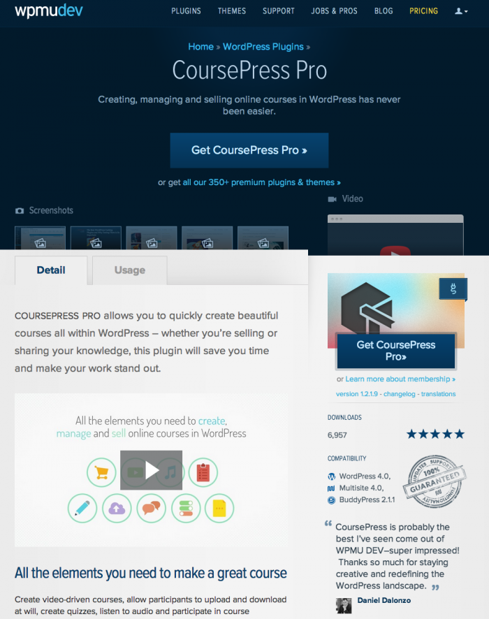 The original CoursePress Pro page