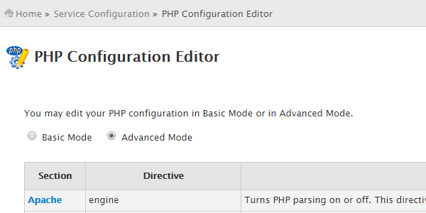 WHM > Service Configuration > PHP Configuration Editor in advanced mode