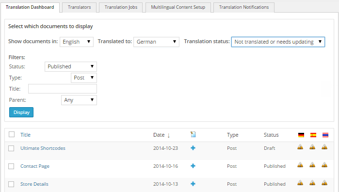 The WPML Translation Manager