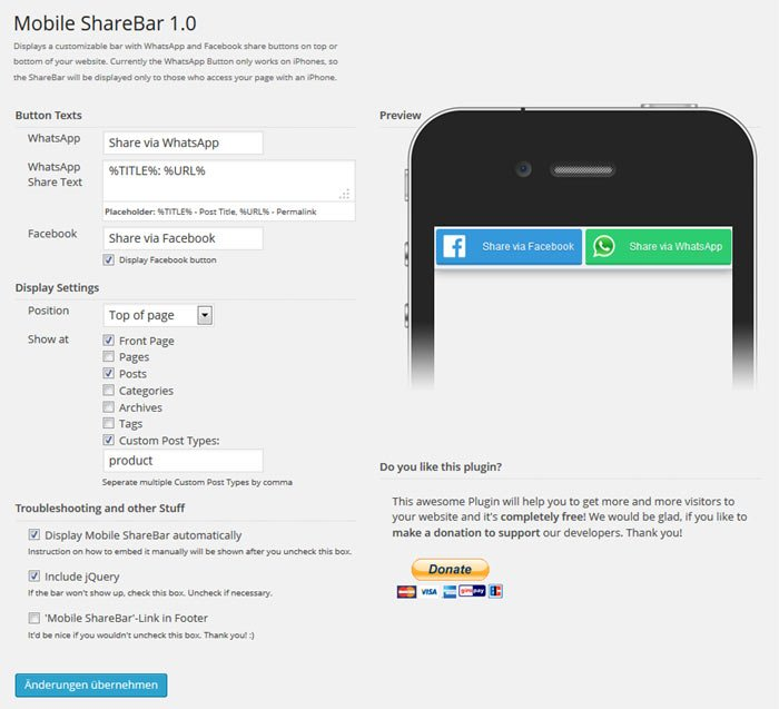 Mobile sharebar settings for whatsapp