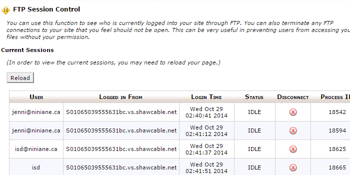 In cPanel, navigate to Files > FTP Session Control in order to close connections manually