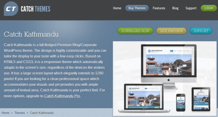 Most popular themes -- such as Catch Kathmandu -- have a demo/preview option.