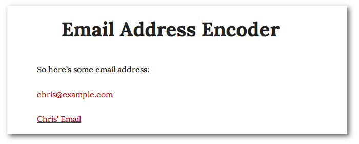 Screenshot of two email address that appear normal despite being encoded