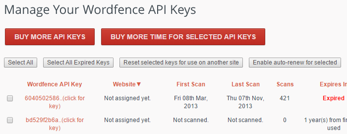 "You can find your Wordfence API key from the ""Get API Keys"" page on the left of the list."