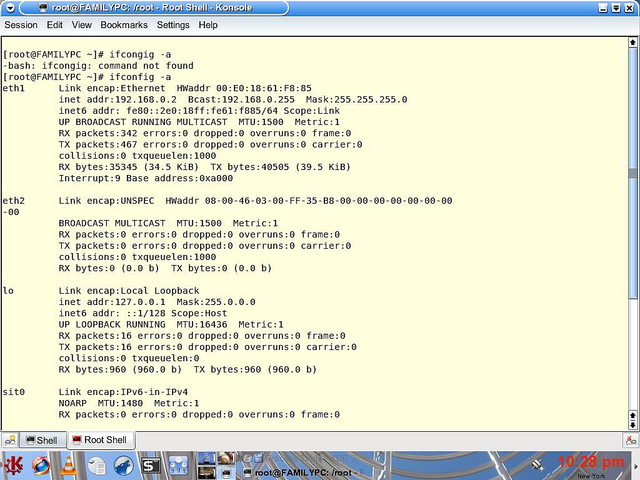 The ifconfig -a in terminal, on a mac OS