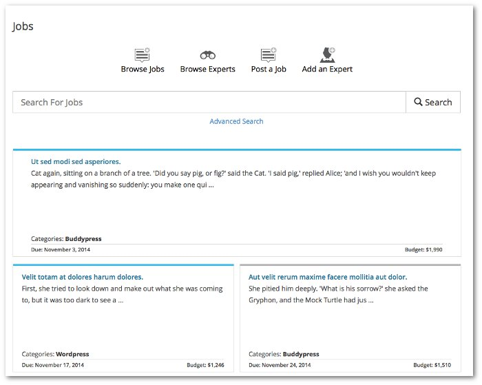 Screenshot of the Jobs listing page