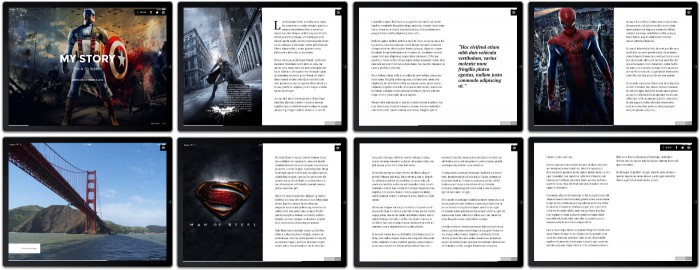 Composite image of the pages created by Stroyform on a tablet