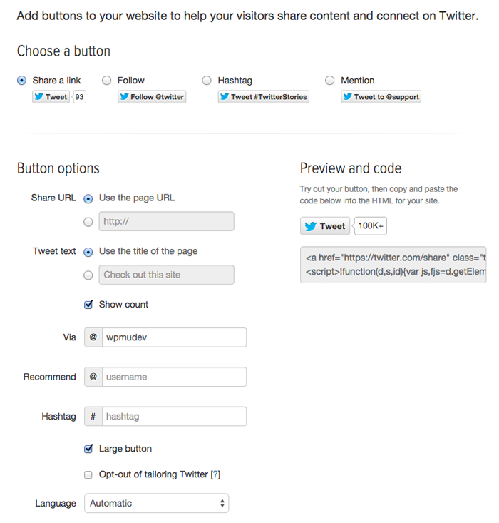 Official Twitter Share Button