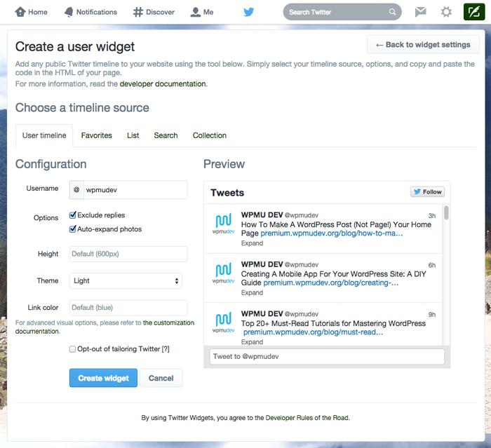 Create a Twitter User Widget