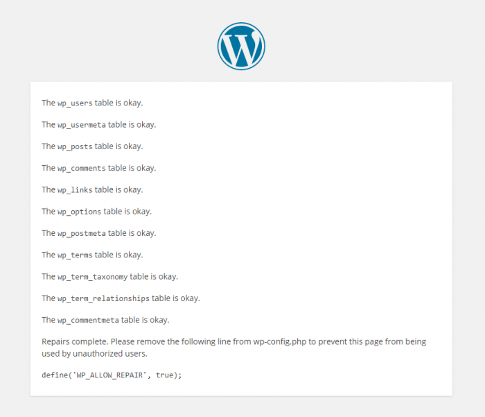 Repairing the WordPress Database