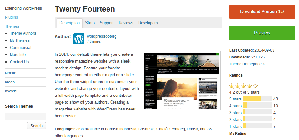 WordPress' default themes (such as Twenty Fourteen, above) usually do a great job of listing customization options.