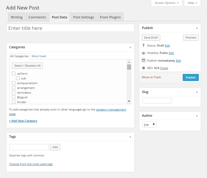 New and Improved Post Editor Screen