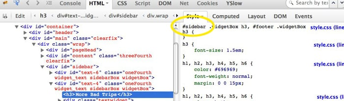 The Firebug browser plugin shows us that the area we chose to inspect has the #sidebar ID.
