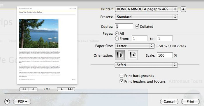 The print preview shows that only one page will print.