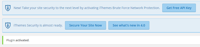 The iThemes Security Pro plugin notifies you of set up options after activation