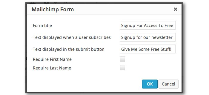 Screenshot of the Mailchimp form dialog