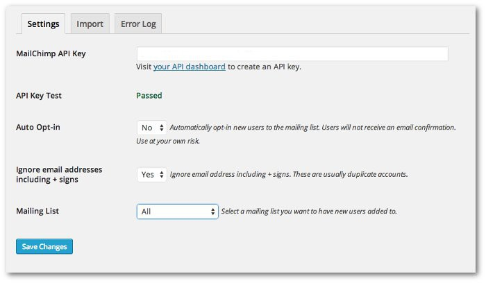 Screenshot of the settings page of the Mailchimp Integration plugin