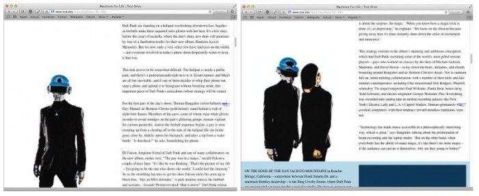 Two screenshots showing a pinned image and a scrolling image