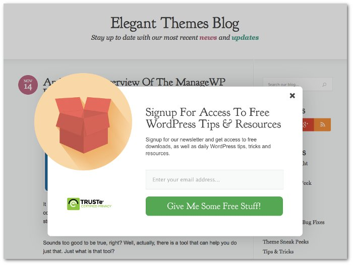 Screenshot of the Elegant Themes popup