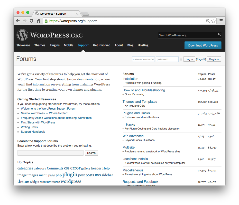 WordPress Support Forums.