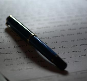 pen lying on paper