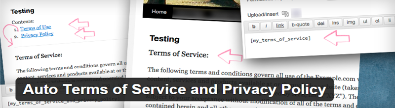 Auto Terms of Service and Privacy Policy plugin