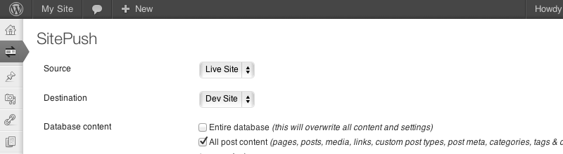 SitePush WordPress plugin