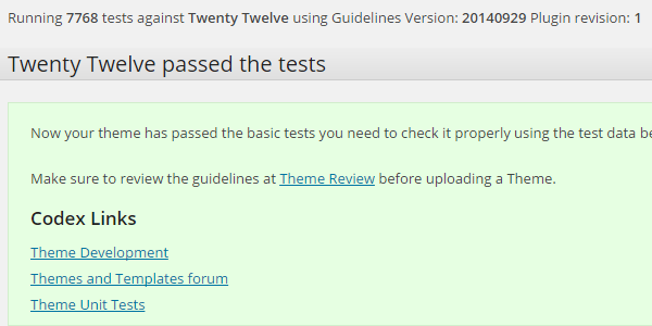 Theme Check WordPress plugin test with Twenty Twelve theme