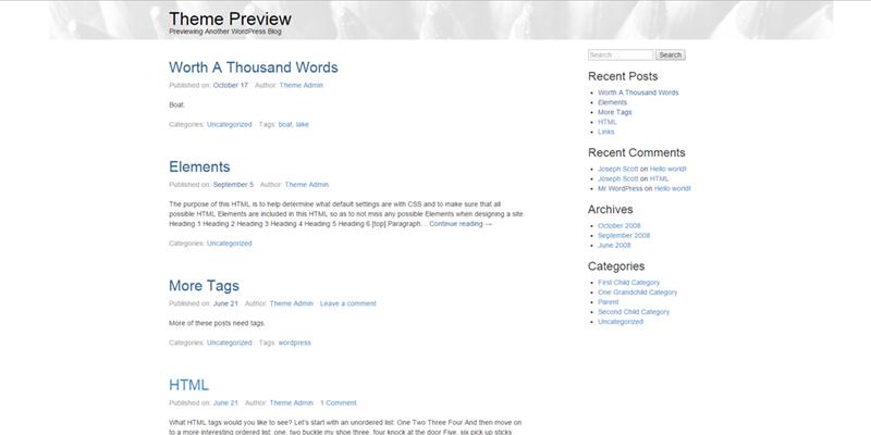 WPstart theme screenshot