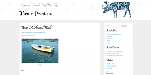 White Xmas theme screenshot