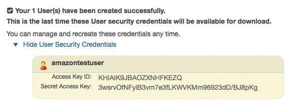 Amazon Access Credentials