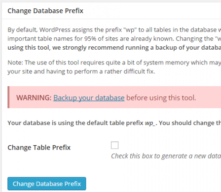 "iThemes Security's ""Change Database Prefix"" feature"