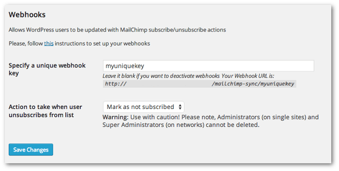 Screengrab of the webhook section in the MailChimp Integration plugin settings page
